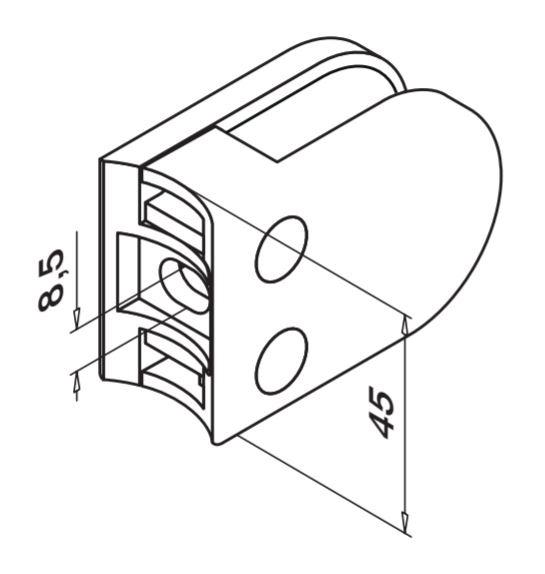 Clema MOD 22 fixare pe rotund pentru montant balustrada sticla 6-10 mm 1