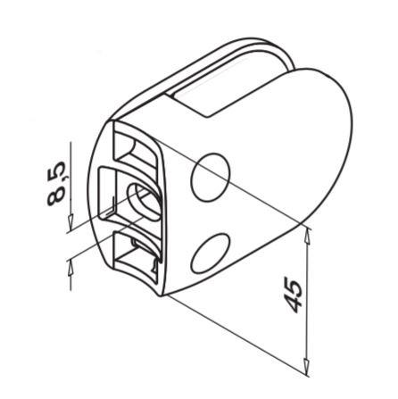Clema MOD 28 fixare pe rotund pentru montant balustrada sticla 6-12,76 mm 1
