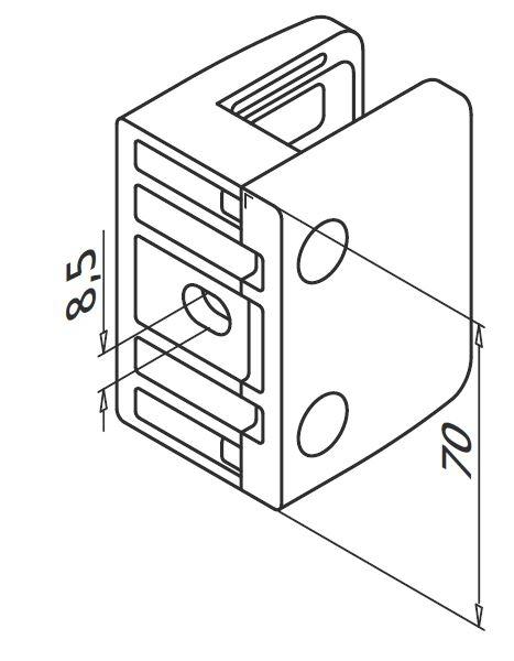 Clema MOD 23 fixare pe drept pentru montant balustrada sticla 19-21,52 mm 1