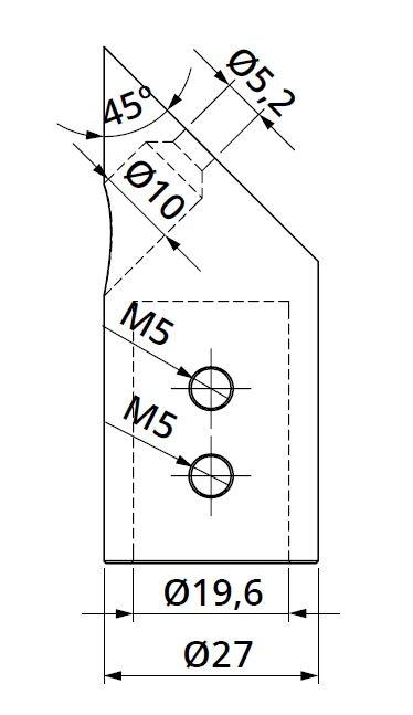 Conector 45° bara stabilizare cabina dus teava/perete 1