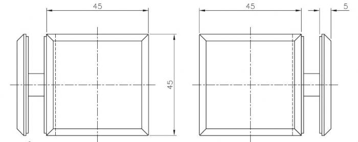 Conector cabina dus sticla/sticla 90° 1