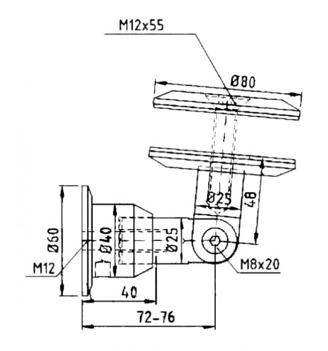 Conector copertina inferior perete/sticla 21,52-25,52 mm 1