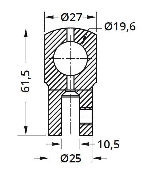 Conector cu trecere 180° bara stabilizare cabina dus teava/sticla 1