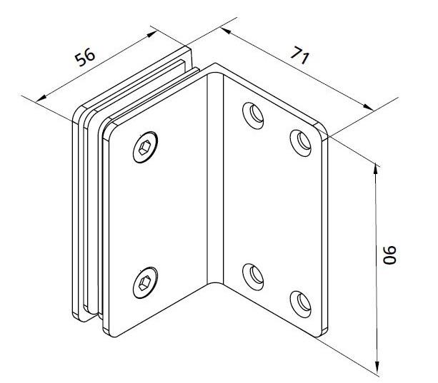 Conector Dorma cabina dus perete/sticla S1000 SHH 308 1