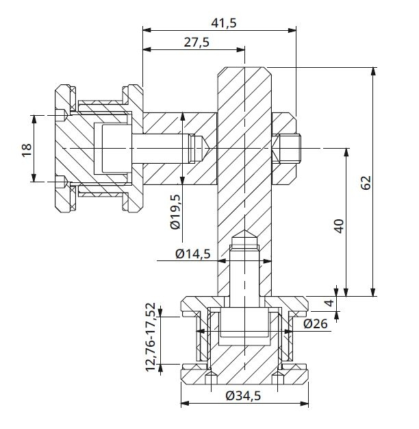 Conector dublu reglabil la 90° sticla/sticla 8-12 mm 1