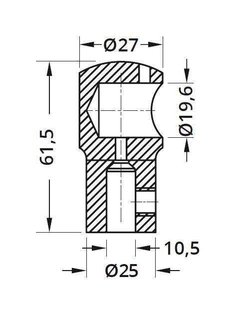 Conector fara trecere 180° bara stabilizare cabina dus teava/sticla [1]