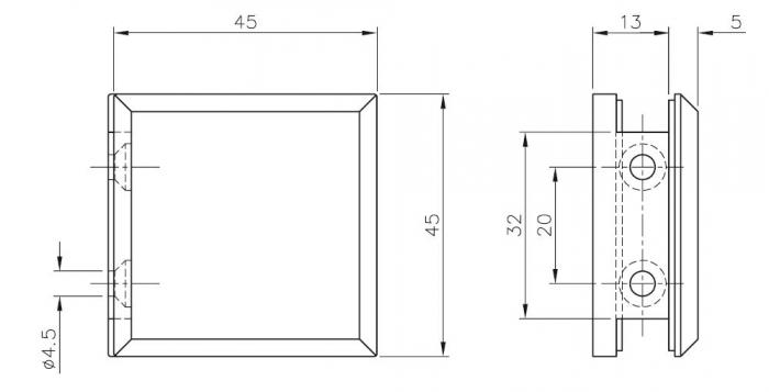Conector cabina dus perete/sticla 90° [1]