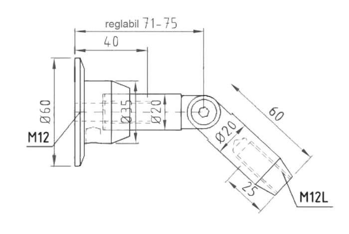 Conector superior perete/tija copertina sticla 17,52-21,52 mm 1