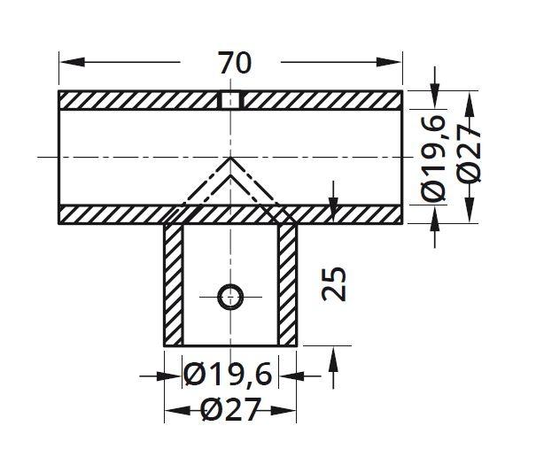 Conector T bara stabilizare cabina dus teava/teava 1