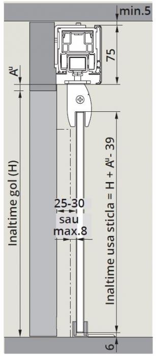 CS80 Magneo Dorma cu sistem glisare fixare sticla in profil montaj perete 1
