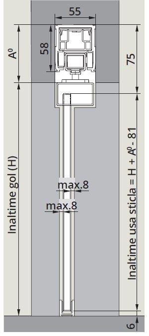 CS80 Magneo Dorma cu sistem glisare fixare sticla in profil montaj tavan 1