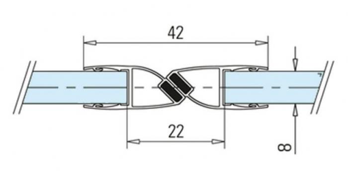 Garnitura magnetica 180° cabina dus sticla 8-10 mm 1