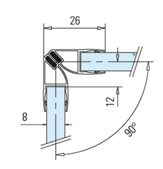 Garnitura magnetica 90° cabina dus sticla 8-10 mm 1