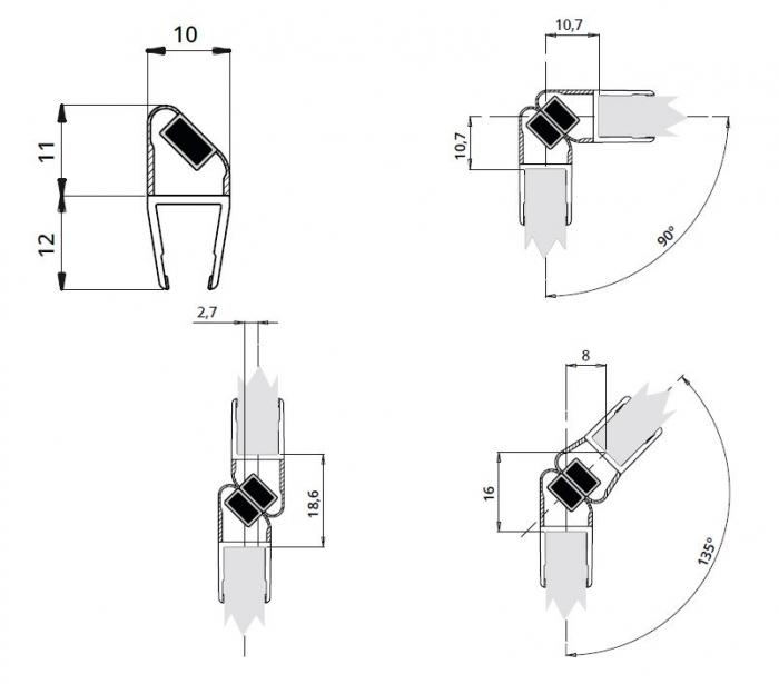 Garnitura magnetica ultraclara cabina dus sticla 8 mm 1