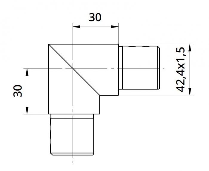 Imbinare verticala 90° mana curenta profilata Ø42,4 mm 1