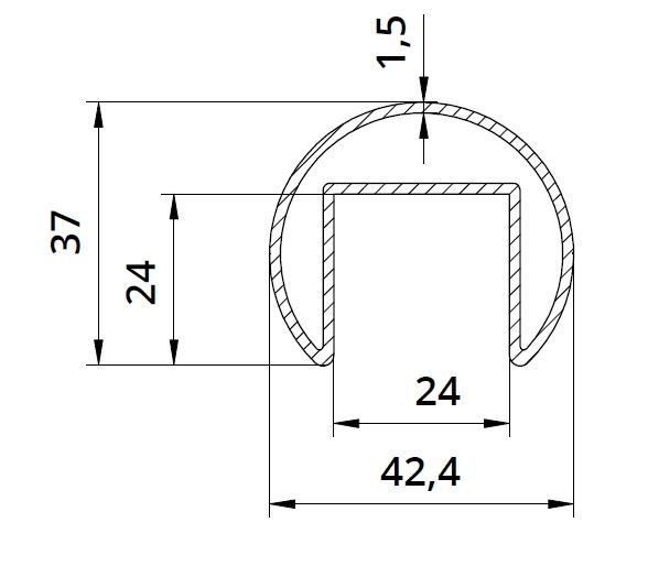 Mana curenta profilata Ø42,4 mm [1]