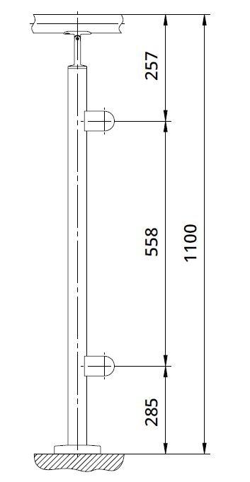 Montant capat rotund echipat pentru sticla fixare pe treapta scara 1