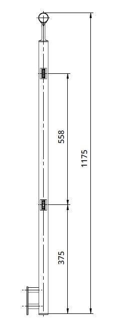 Montant de capat patrat echipat pentru sticla fixare pe laterala [1]