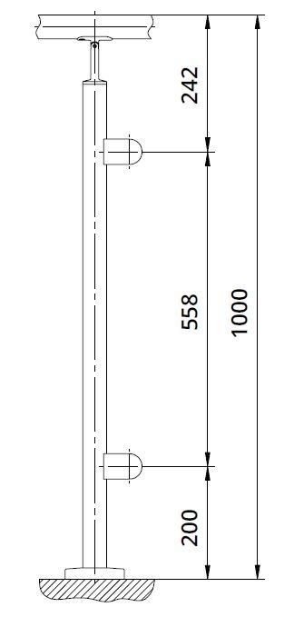 Montant de capat patrat echipat pentru sticla fixare pe pardoseala 1