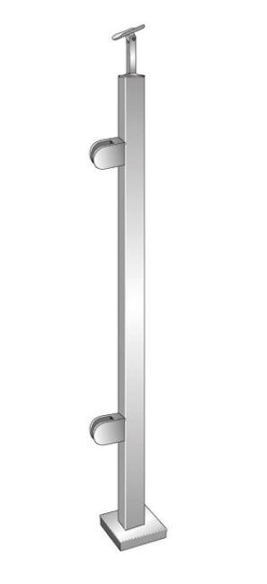 Montant de capat patrat echipat pentru sticla fixare pe pardoseala [0]