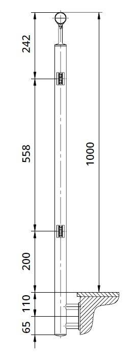 Montant de capat rotund echipat pentru sticla fixare pe laterala [1]