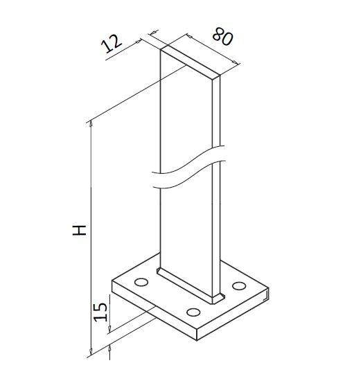 Montant profil mana curenta Easy Glass® Hybrid, H=1040 mm 2