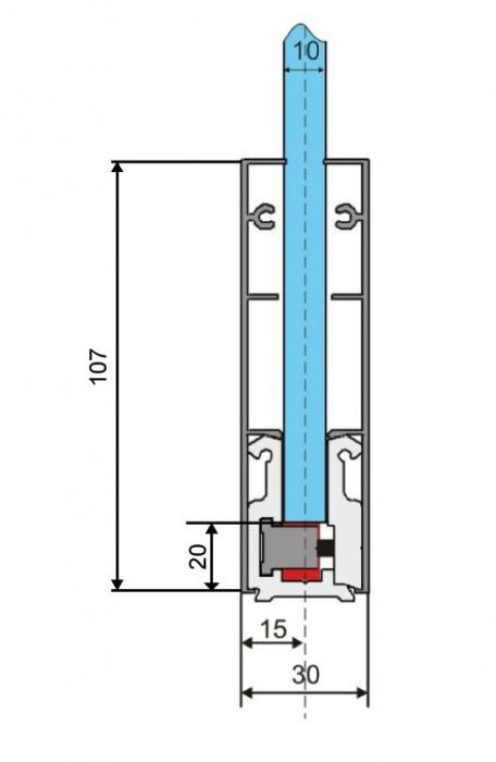 Profil perimetral sticla 10-12 mm 2
