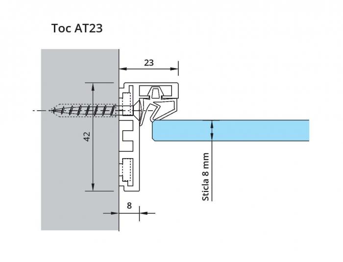 Set toc Dorma AT 23 sticla 8-10 mm 1
