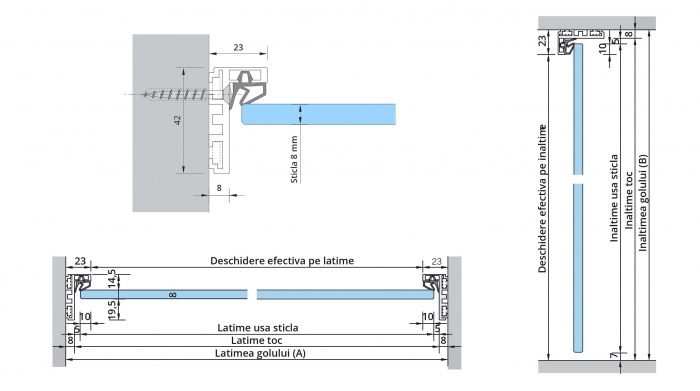 Set Dorma AT 23 inclusiv feronerie usa sticla 8-10 mm 1