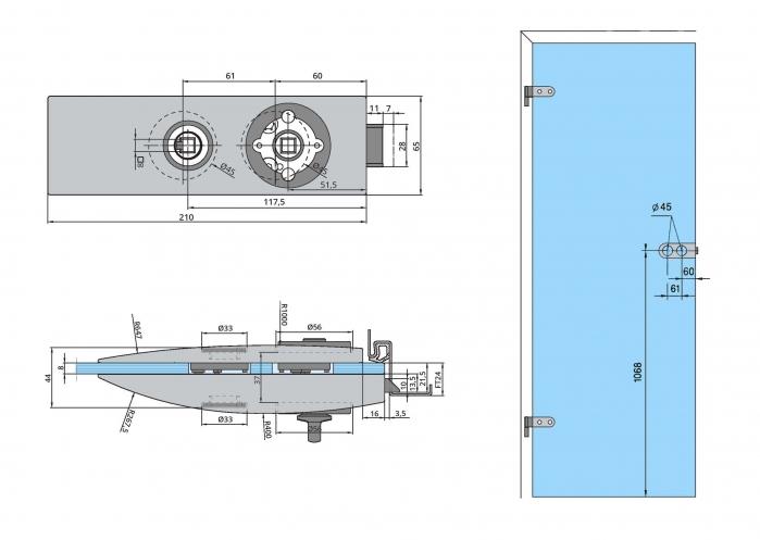Set Dorma Arcos Studio broasca pentru baie + 2 balamale usa sticla 8 mm 1