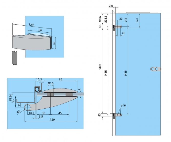 Set Dorma Arcos Studio broasca pentru baie + 2 balamale usa sticla 8 mm 2