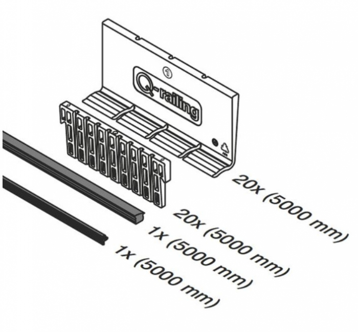 Set cale si garnituri profil U balustrada Easy Glass® Up, sticla 12-17,52 mm, L=5000 mm 1