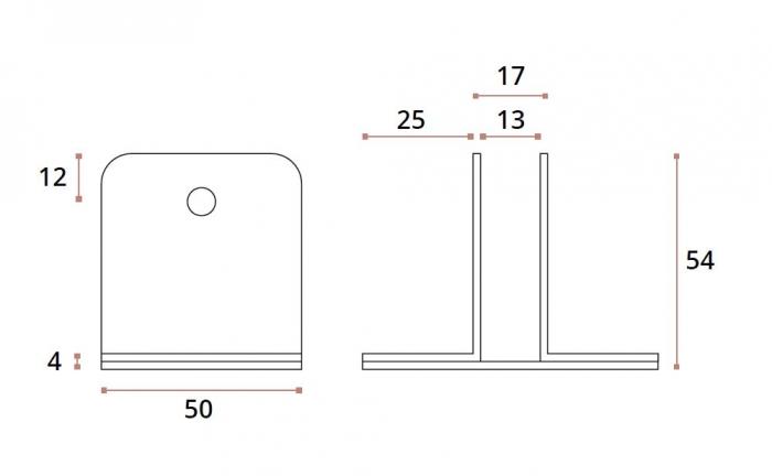 Conector inferior cu talpa 90° sticla/HPL 10-13 mm compartimentare toaleta 1