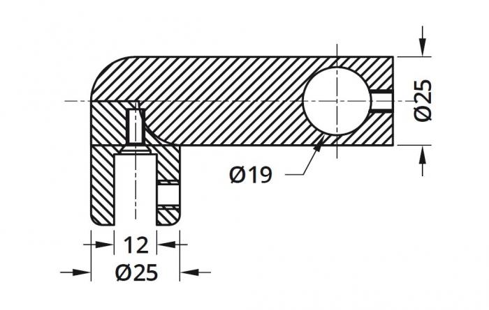 Conector 90° bara stabilizare cabina dus teava/sticla 1