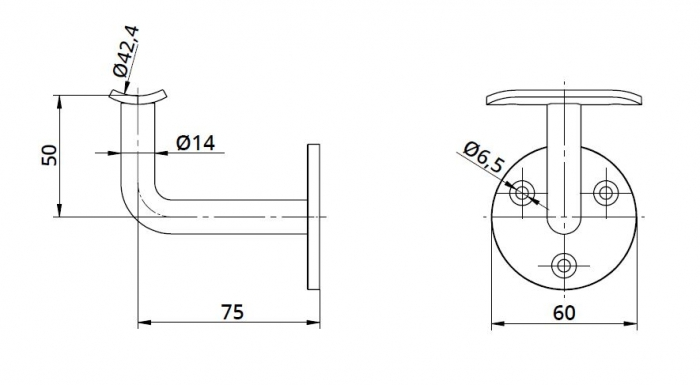Suport perete 75x50 mm mana curenta rotunda Ø42,4 mm 1
