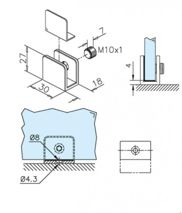 Suport polita sticla 6-10 mm 1