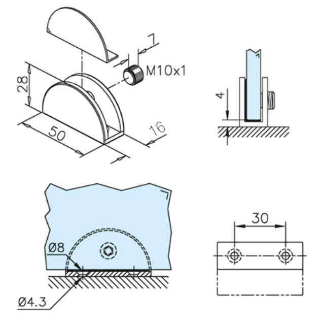 Suport polita sticla 6-8 mm 1