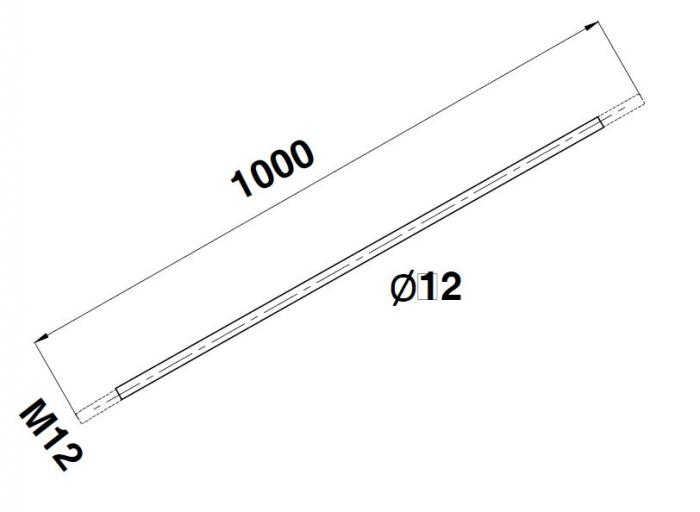 Tija Ø12xM12, L=1000 mm 1