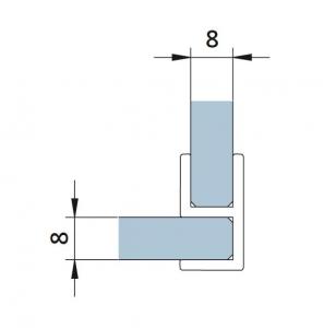 Garnitura la 90° cabina dus sticla 8 mm [1]
