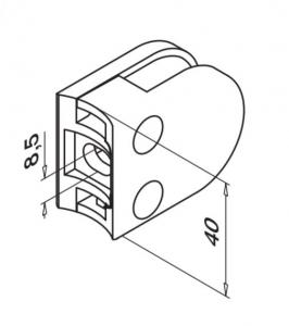 Clema MOD 27 fixare pe rotund pentru montant balustrada sticla 8,76-10,76 mm1