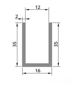 Profil compartimentare U 35x16x2 mm1