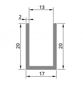 Profil compartimentare U 20x17x2 mm1