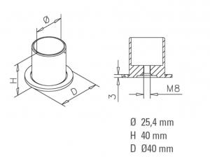 Conector perete/teava compartimentare toaleta1