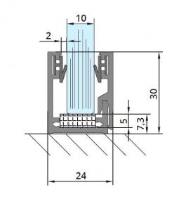 Profil monobloc cu clips inferior sticla 10 mm [1]