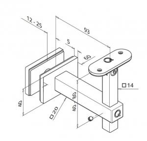 Suport sticla 12-25 mm reglabil mana curenta patrata1