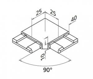 Imbinare orizontala 90° mana curenta rectangulara 40x10 mm1