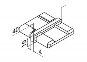 Imbinare 180° mana curenta rectangulara 40x10 mm1