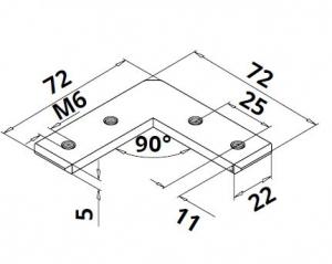 Conector 90° profil U/mana curenta Easy Glass® Hybrid1