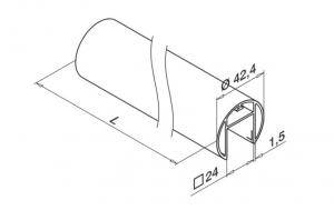 Mana curenta profilata Ø42,4 mm, L=5000 mm [1]