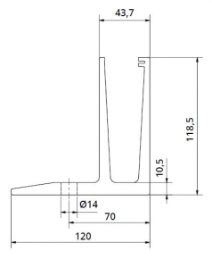 Profil U balustrada Easy Glass® Eco F cu talpa fixare pardoseala1